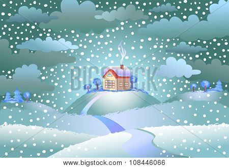 Landscape with the small house on snowy day, a vector illustration.