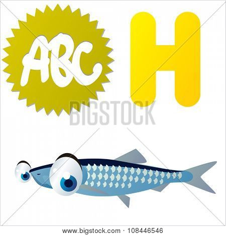 Vector comic funny cartoon animals alphabet: H is for Herring