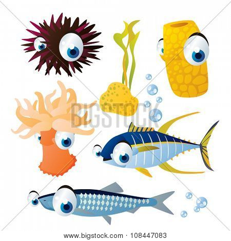 cute vector comic cartoon fish set: collection of sea life animals for children book illustration, flash card games, stickers or mobile applications: sea urchin, sponge, sea anemone, tuna, hering