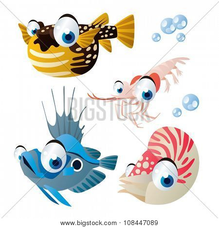 cute vector comic cartoon fish set: collection of sea life animals for children book illustration, flash card games, stickers or mobile applications: puffer fish, shrimp, john dory, nautilus