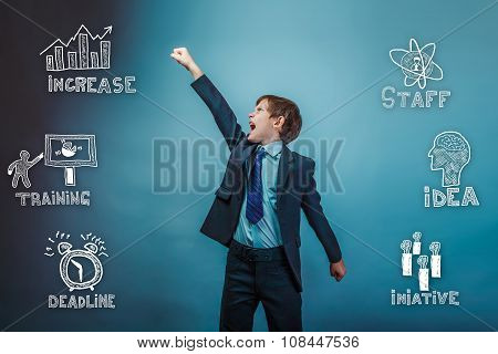 Teenage businessman boy raised his hand up and opened his mouth