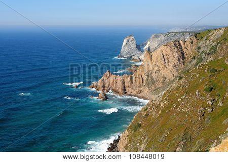 Scenic rocks at sea coast on Cabo Da Roca Portugal