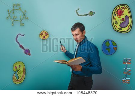 Businessman frowning man reading a book and points to the hand i