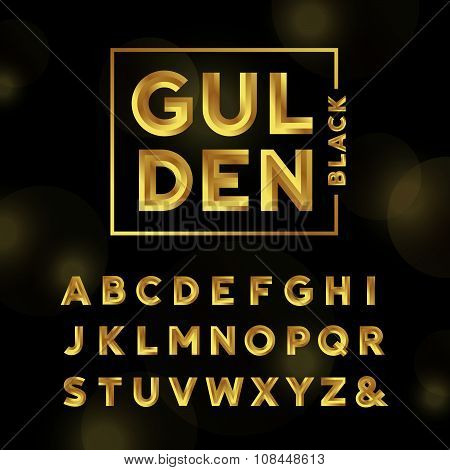 Golden Font. Vector Alphabet With Gold Effect Letters.