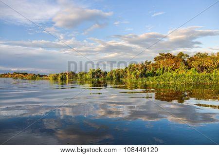 Sunset In The Amazon Rainforest, Manaos, Brazil
