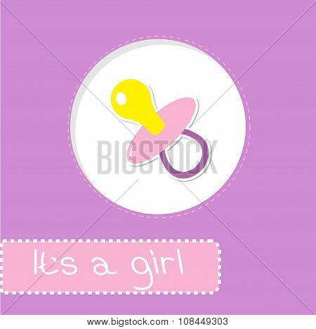 Baby Girl Pacifier. Shower Card