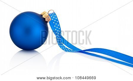 Blue Christmas Ball With Ribbon Isolated On White Background
