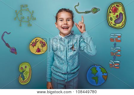 girl smiles and points a finger at Icons biology education forma