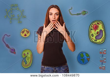 Girl surprised bring your hands to your mouth icons biology educ