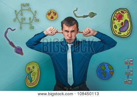 Male business style clothing put his fingers in his ears icons b