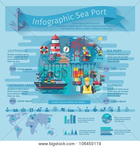 Sea Port Infographics Set