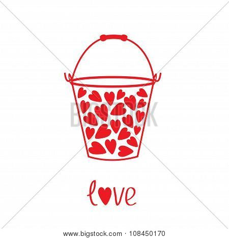 Love Bucket With Hearts Inside. Card