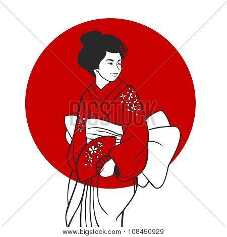Geisha Portrait Illustration