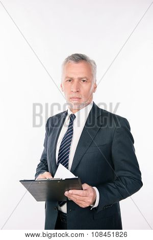 Old Confident Businessman Holding A Folder With Documents