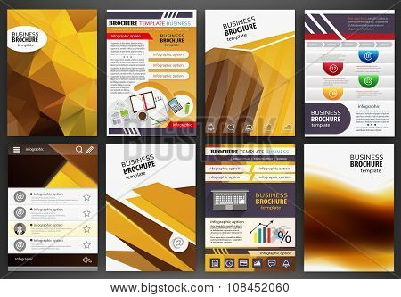 Orange Brochure Template Abstract Concept Infographics And Icons