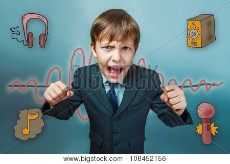 Teen boy businessman clenched his fists and yelling mouth open f