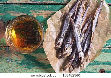 Dried Salted Capelin And Beer