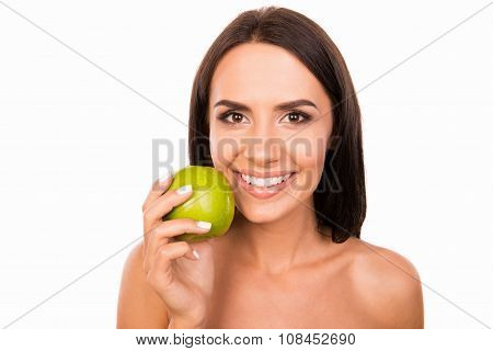 Beautiful Healthy Toothy Girl Smiling With Green Apple