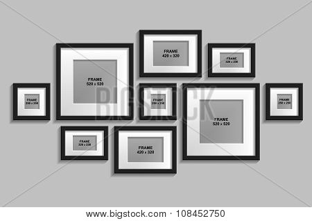 Vector Set Of Isolated Black Frames With Passepartout