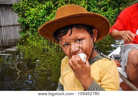 Local Boy In The Amazon Rainforest, Manaos, Brazil