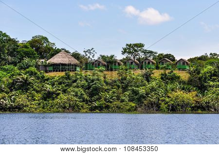 Local Huts In The Amazon Rainforest, Manaos, Brazil