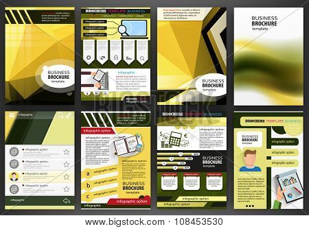 Yellow Brochure Template Abstract Concept Infographics And Icons