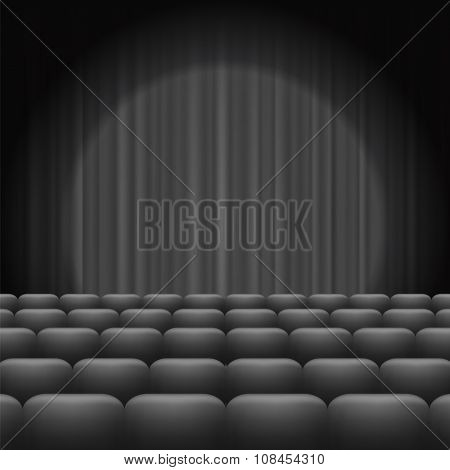 Grey Curtains with Spotlight and Seats