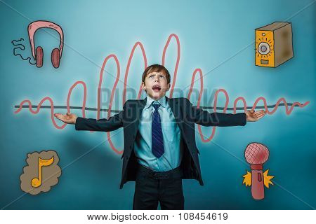 Teen boy businessman opened his arms and shouts sound wave music