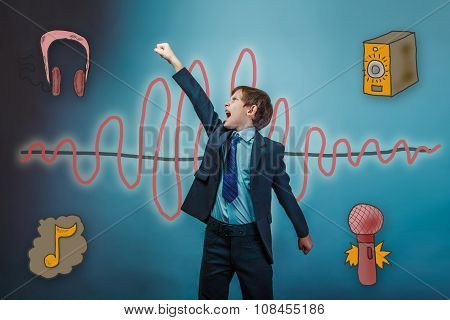 Teen boy businessman opened his mouth and yells raised his hand