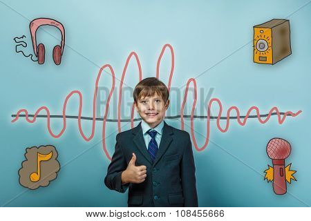Teen boy businessman smiling and showing hand sign yes sound wav