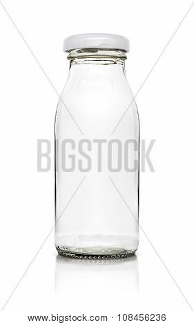 Empty glass packaging bottle isolated on white background