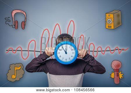Teen boy closed his clock face sound wave music radio sketch sym