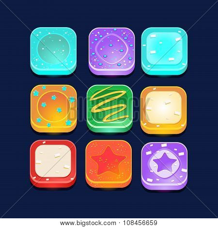 Set Of Square Lollipop Icons
