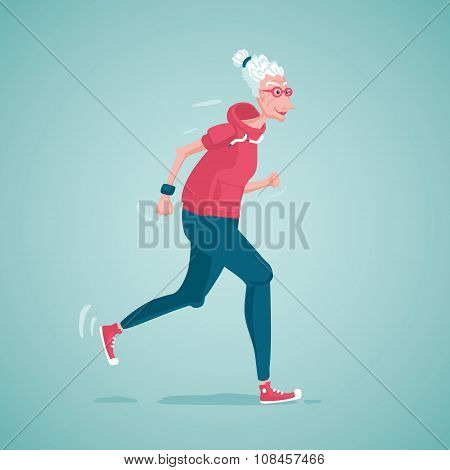 Old lady running