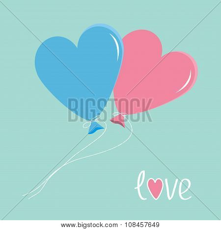Blue And Pink Balloons In Shape Of Heart. Love Card.