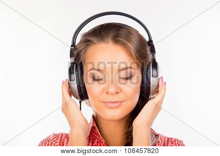 Calm Relaxed Young Woman With Headphones