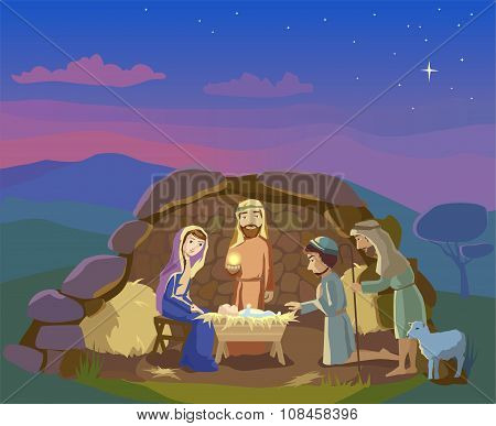 Nativity scene. Christmas illustration