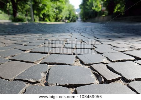 Cobblestone pavement on square