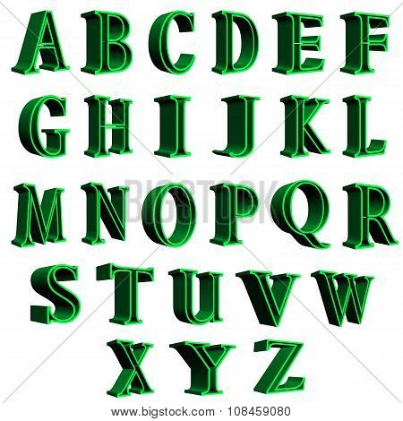 3D english alphabet green letters