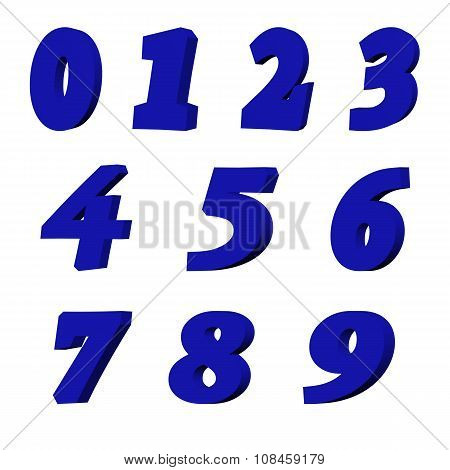 3D blue numbers