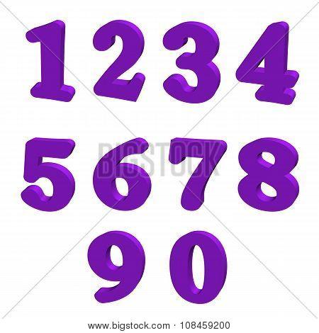 3D purple numbers
