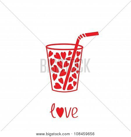 Glass With Straw And Hearts Inside. Card