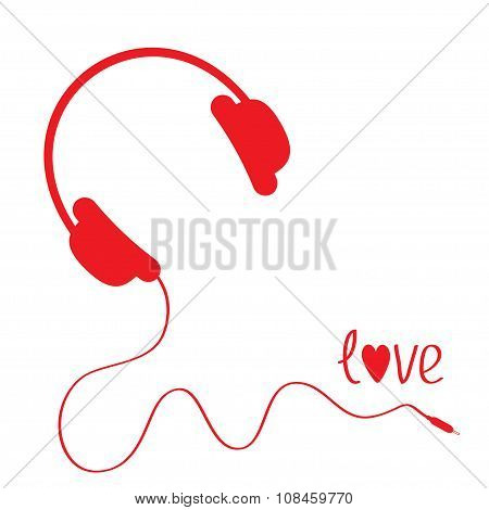 Red Headphones With Cord . White Background. Love Card.