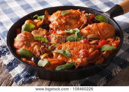 Chicken With Tomatoes And Vegetables Closeup In A Pan. Horizontal