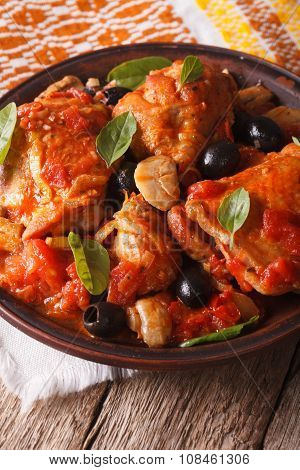 Italian Cuisine: Cacciatori Chicken With Mushrooms Closeup. Vertical