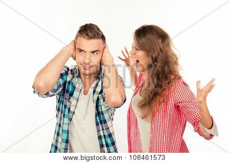 Furious Young Woman Shouting At Her Boyfriend