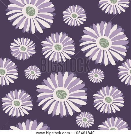 Abstract gerbera flower seamless pattern background in violet colors. Textile, wallpaper, wrap paper, web design pattern.
