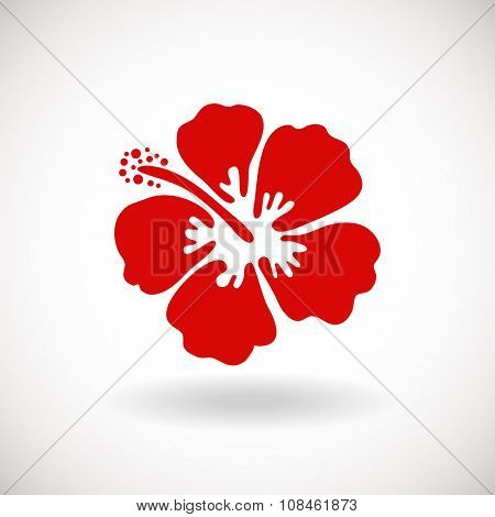 Red Hibiscus flower on white background. Vector illustration. Can be used for logo, logotype, sticker, web, print and other design.