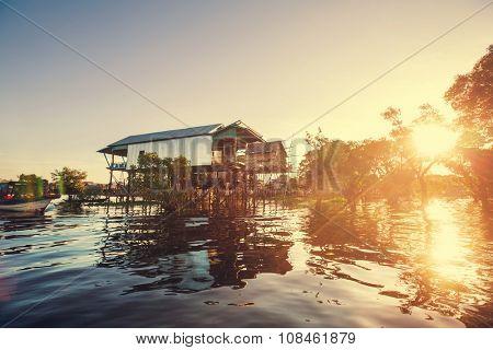 Cambodian village on lake