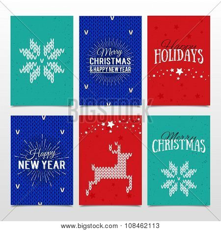 Colorful Paper Cards With Happy Holidays, Merry Christmas And Happy New Year Lettering. Christmas Ca